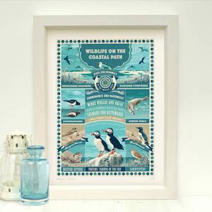 'British Coastal Wildlife Art Print' Coastal Gift