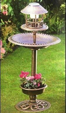 Bird Bath & Feeder With Solar Light