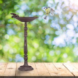 Relaxdays Cast Iron Bird Bath with Stand