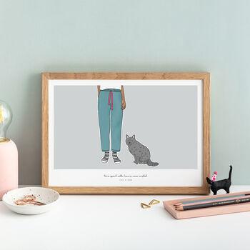 Cat Lovers Personalised Pet Portrait Print