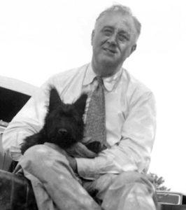 Franklin D. Rooseveltand his pet dog, Fala
