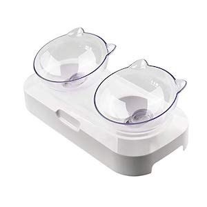 Hamkaw Transparent Double Bowl Pet Feeder