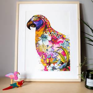 Jungle Floral Parrot Print
