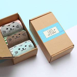 Set Of Three Cat Socks In A Gift Box