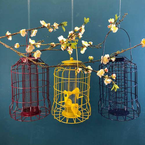 Trio Of Colourful Hanging Bird Feeders