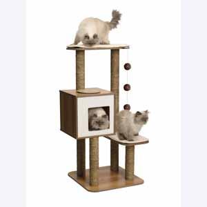 Vesper V High Base Walnut Effect & White Cat Activity Centre