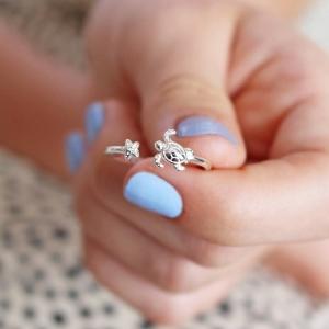 Adjustable Sterling Silver Turtle Ring