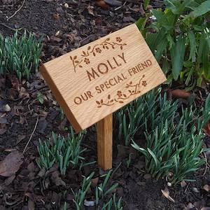 Floral Engraved Oak Memorial Plaque