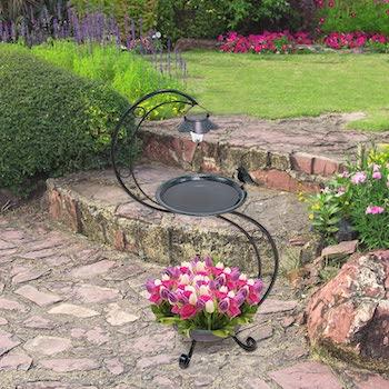 GardenKraft Solar Lit Bird Bath With Planter
