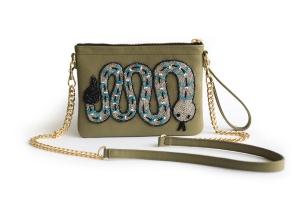 Olive Rattle Snake Crossbody Bag