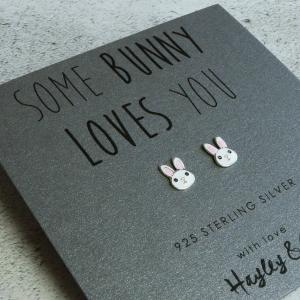 Sterling Silver Enamel Bunny Earrings